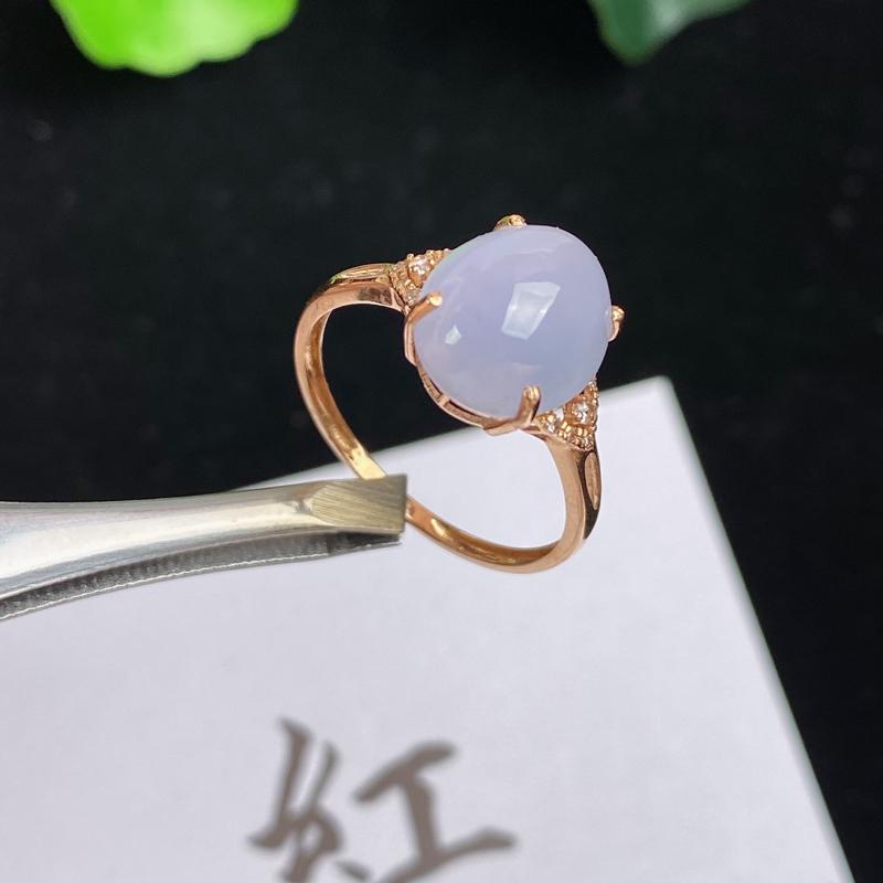 A货翡翠-种好紫罗兰18K金伴钻蛋面戒指,尺寸-10.8*8.9*5.6mm内径16.6mm13号