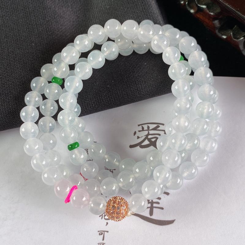 A货翡翠-种好冰润圆珠项链,尺寸-6.7mm
