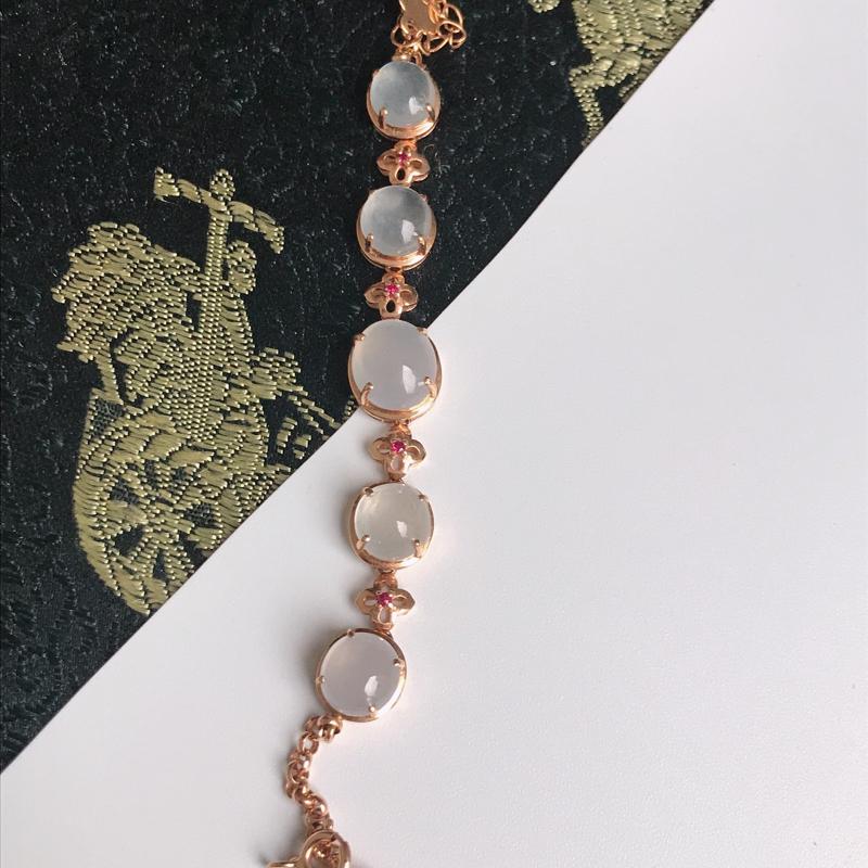 缅甸翡翠老坑A货镶嵌18k金冰透福气手链,裸石尺寸7.6-6.7-3.5mm,手链长190mm