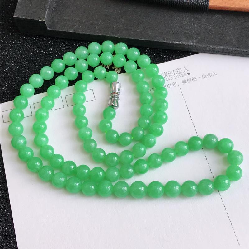 C1010翡翠A货飘绿福气项链,尺寸6.2mm,扣头是装饰品
