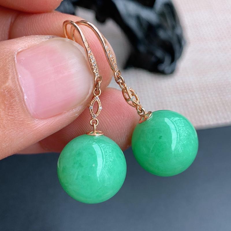 满绿耳坠、尺寸:裸石14.6mm含金39.2/14.6mm,A货翡翠18k金伴钻满绿圆珠耳坠、编号0