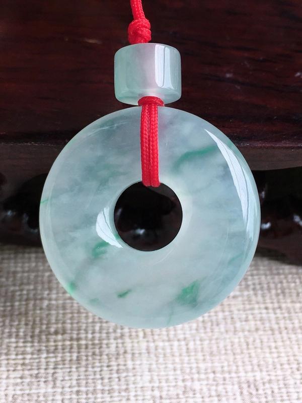 A货翡翠冰种飘花平安扣吊坠挂件,尺寸25.8/5.3mm,重量7.58g