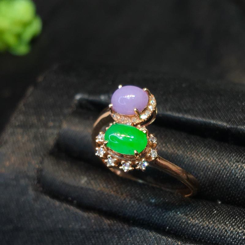 翡翠a货,双色蛋面戒指,18K金伴钻,颜色清爽,佩戴精美,性价比高,圈口;13