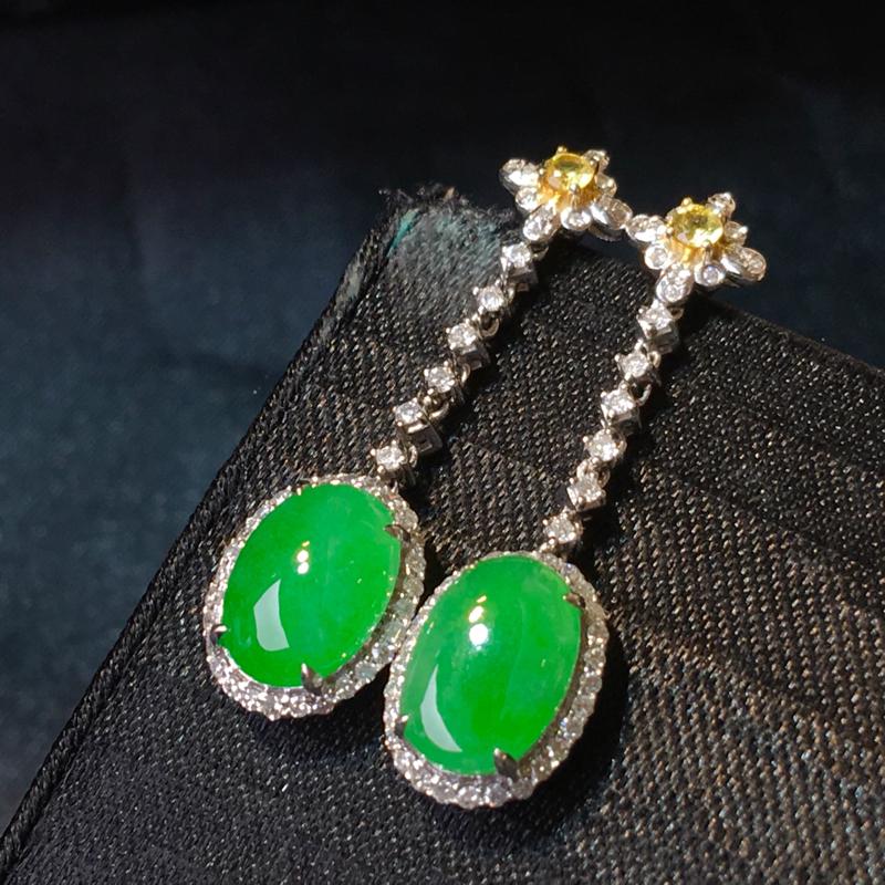 翡翠a货,满绿蛋面耳坠,18k金伴钻,彩宝点缀,颜色清爽,佩戴精美,性价比高,整体尺寸31.0*8.