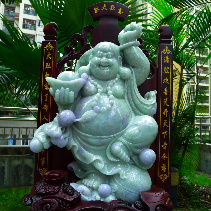 缅甸天然翡翠A货 精美 春带彩 大尊 笑口常开 财源广进 多子多福 笑佛摆件 雕刻精美线条流畅 种水