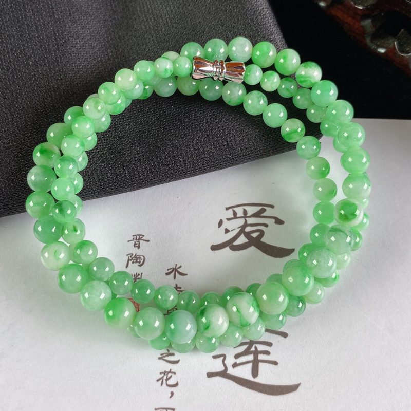 A货翡翠-种好飘绿圆珠项链,尺寸-4.4mm-6.2mm