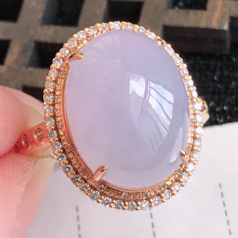 翡翠A货紫罗兰18K金伴钻福气戒指,包金尺寸18.7*15.3*11mm,裸石尺寸15.2*11.8