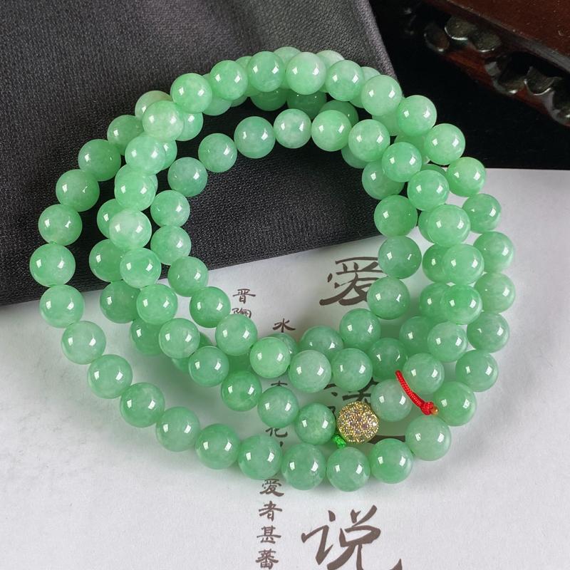 A货翡翠-种好满绿圆珠项链,尺寸-8.3mm