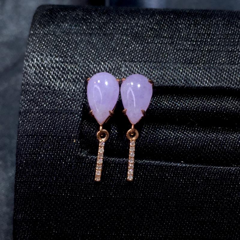 翡翠a货,紫罗兰水滴耳钉,18k金镶嵌,水润,颜色靓丽,佩戴精致