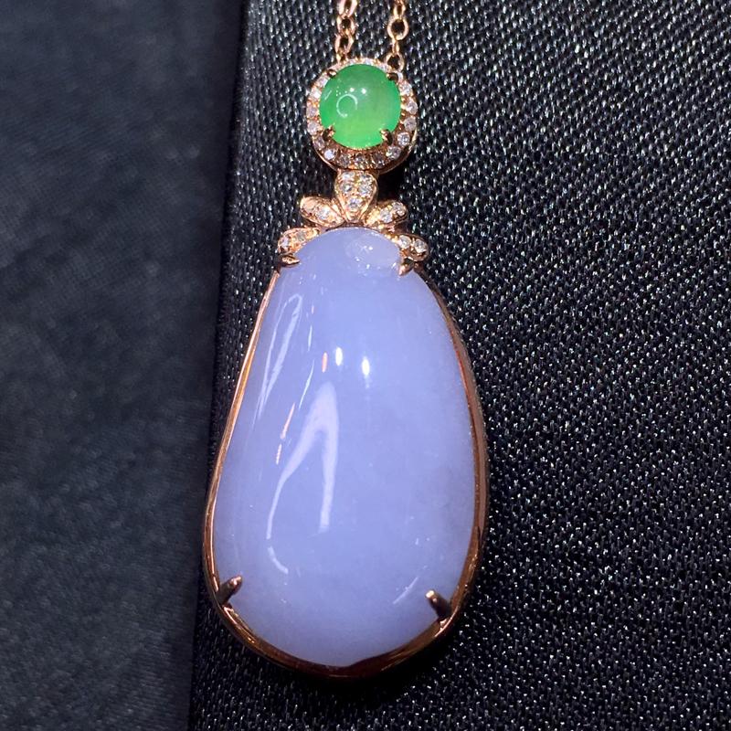 翡翠a货,紫罗兰福瓜吊坠,18k金镶嵌,水润饱满,颜色靓丽,佩戴精美