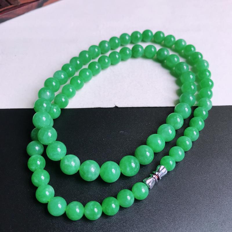 尺寸:70颗,6.9/8.9mm,58.59克,天然A货翡翠带绿圆珠项链,编号9.25