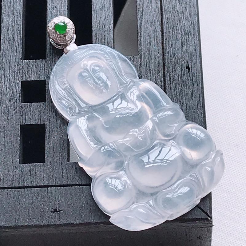 天然翡翠A货,18K金伴钻冰种起光观音吊坠,玉质细腻,颜色漂亮,上身高贵上档次,尺寸连金50.1,裸