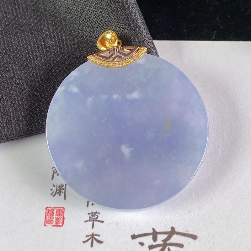 A货翡翠-种好紫罗兰18K金伴钻素面无事牌,尺寸-裸石37.1*5.1mm整体44*37.1*5.1
