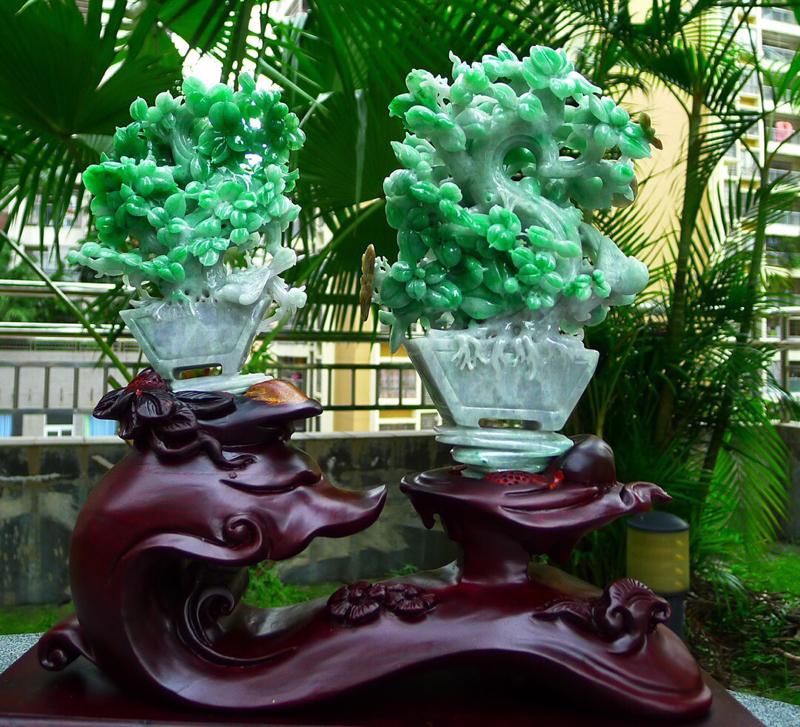 缅甸天然翡翠A货发财树摆件 绿色盆景摆件一套 雕工精美 种水好 特色 高档大气 搭配精美高档檀木底座