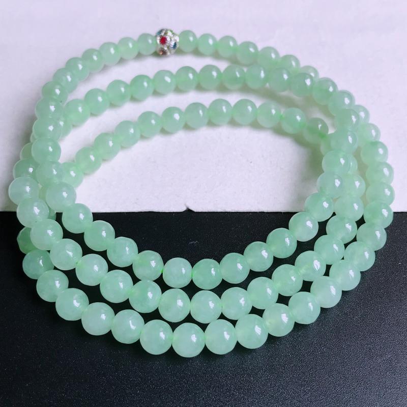 尺寸:108颗,6.7mm,天然A货翡翠带绿圆珠项链,编号9.25