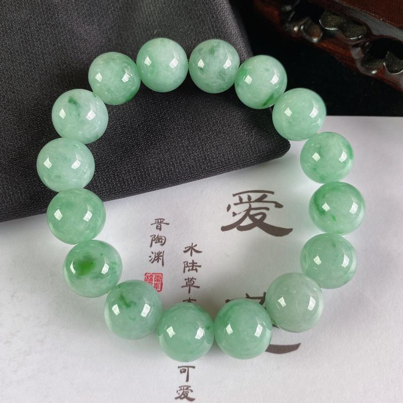 A货翡翠-种好满绿圆珠手链,尺寸-其一圆珠直径12.8mm