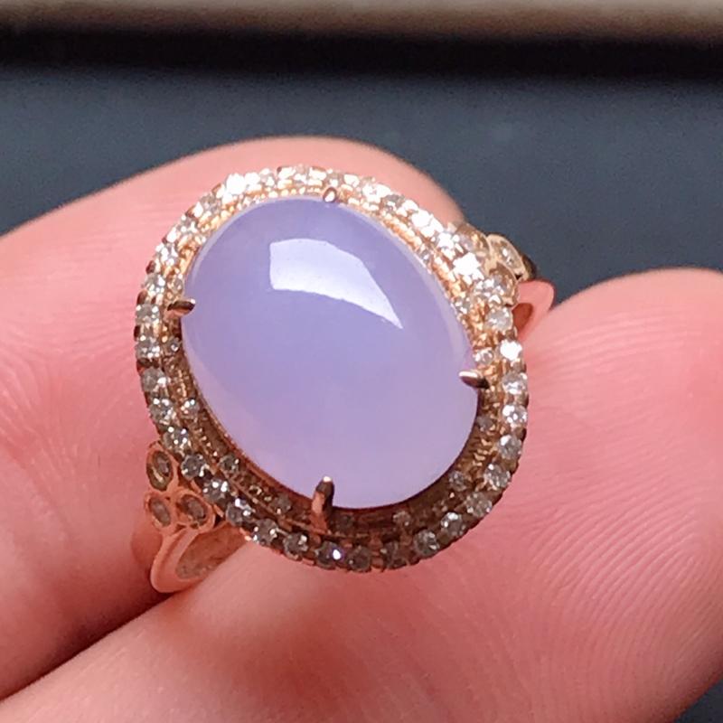 18k伴钻镶嵌,紫罗兰蛋面戒指,玉质莹润,颜色唯美,款式精美时尚,佩戴贵气,戒圈14#