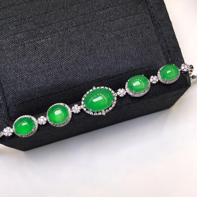 阳绿手链,聚财辟邪,底庄细腻,18K金南非真钻镶嵌,性价比高,推荐,尺寸10.5*7.6*4.3mm