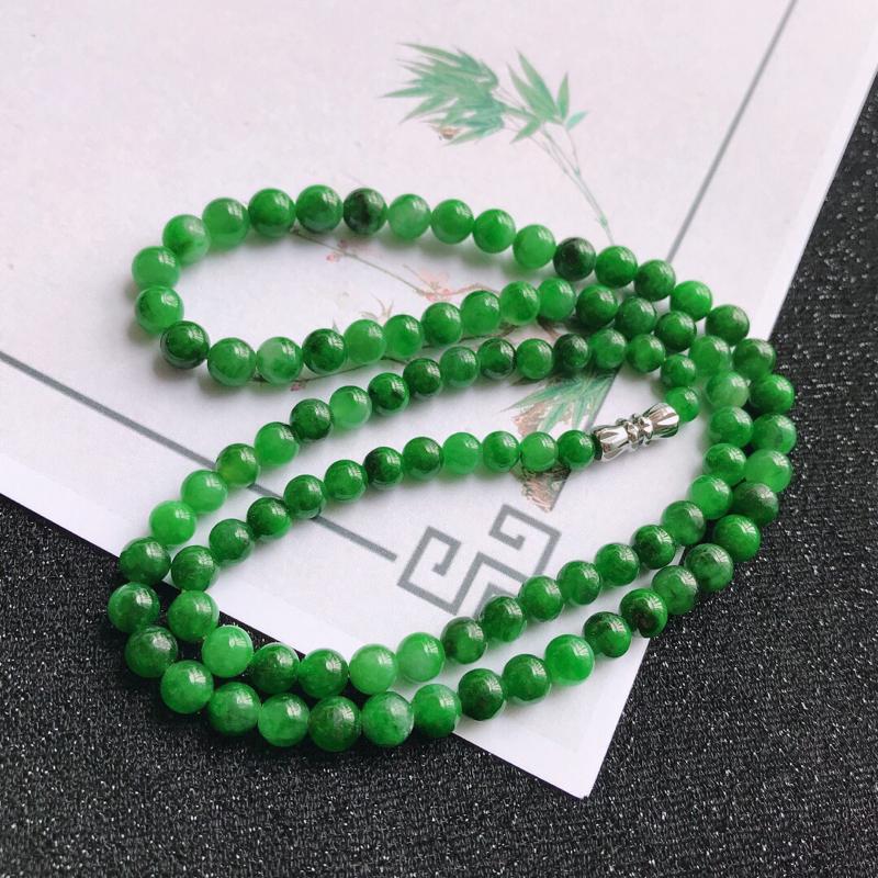 满绿飘花福气项链,翡翠A货,尺寸:6.3mm,编号:c1007