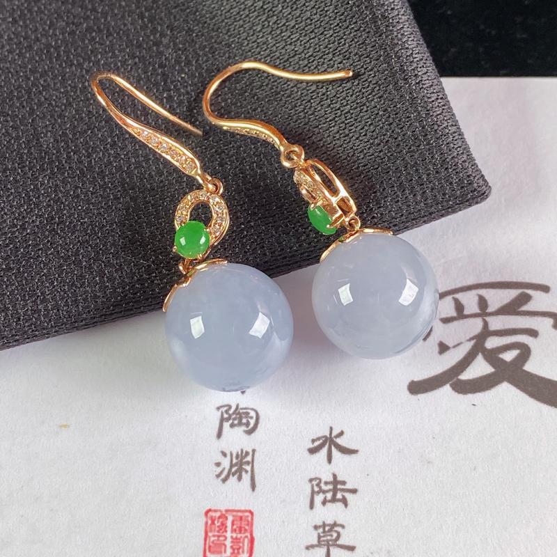 A货翡翠-种好紫罗兰18K金伴钻圆珠耳坠,尺寸-裸石11.4mm整体34*11.4mm