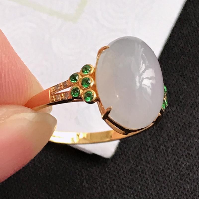 翡翠A货紫罗兰18K金伴钻福气戒指,包金厚6.9mm,裸石尺寸11.9*8.3*5mm,内径17.1