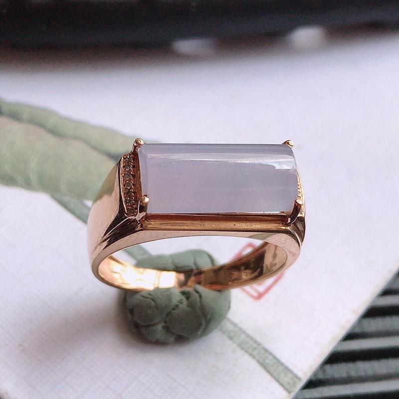 紫罗兰18k金伴钻福气戒指,翡翠A货,包金尺寸:17*8*6mm,裸石尺寸:12.6*6.2*4mm