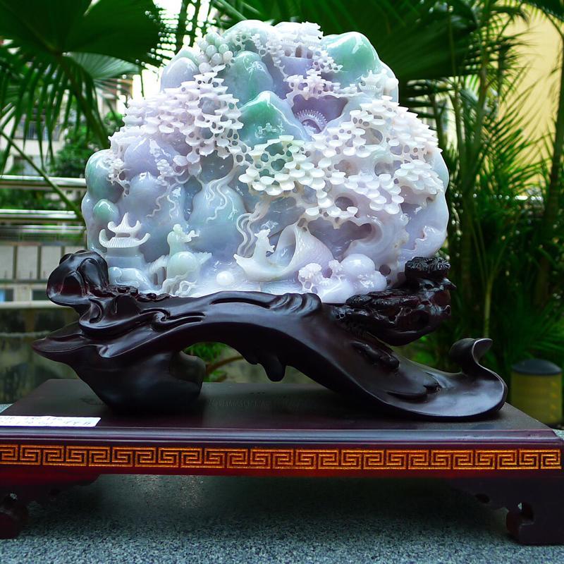 缅甸天然翡翠A货 春带彩 高山流水 山水摆件 雕刻精美线条流畅种水好 层次分明 工艺精湛 搭配精美高