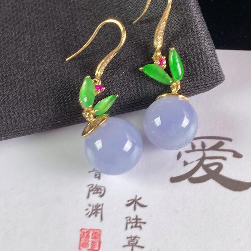 A货翡翠-种好紫罗兰18K金伴钻圆珠耳坠,尺寸-裸石12.3mm整体35.9*12.3mm