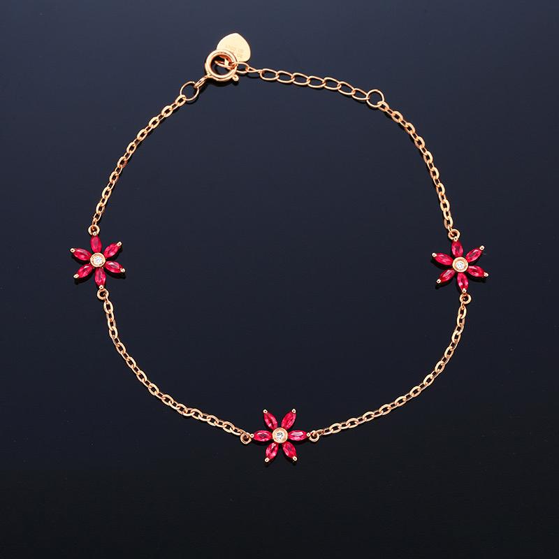 18k金镶红宝石手链 宝石参数:0.45ct  配石:钻石2颗,总重1.78克,链长:17cm(加延