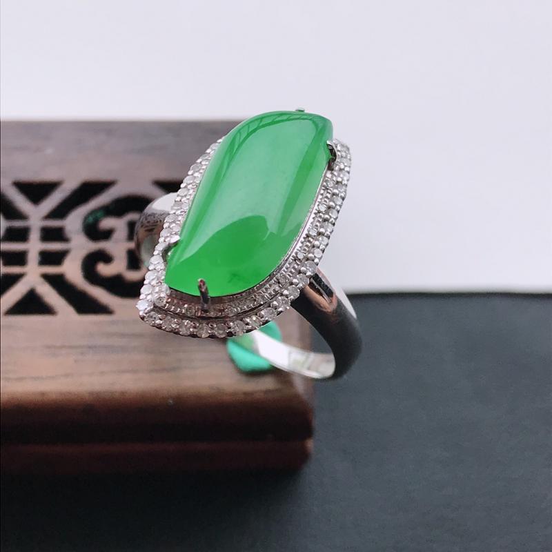 天然翡翠A货18K金镶嵌伴钻糯化种满绿精美水滴戒指,内径尺寸18.4mm,裸石尺寸17-7.6-5m