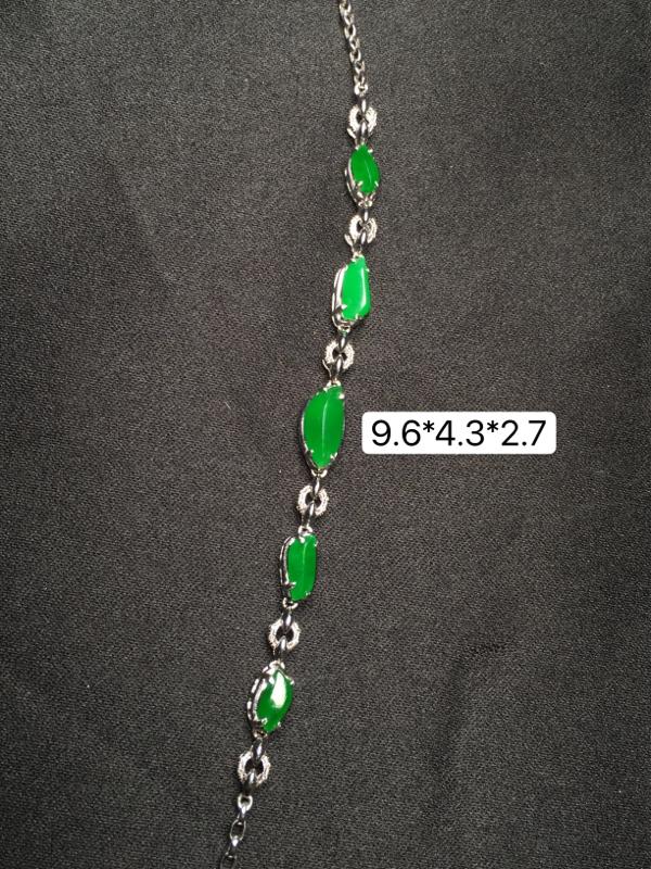 满绿翡翠手链,18K金镶嵌,无纹无裂,玉质细腻,质量杠杠的,性价比超高**