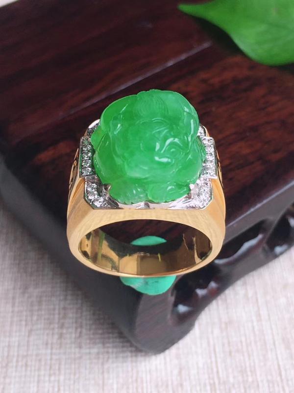 天然A货翡翠 18k金伴钻镶嵌老坑冰绿貔貅戒指