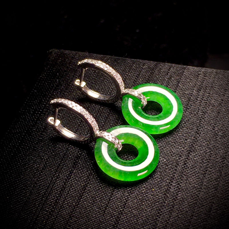 精品绿甜甜圈平安扣子耳坠, 裸石13.5-3mm, 3.65g, 18K金伴天然钻石镶嵌,
