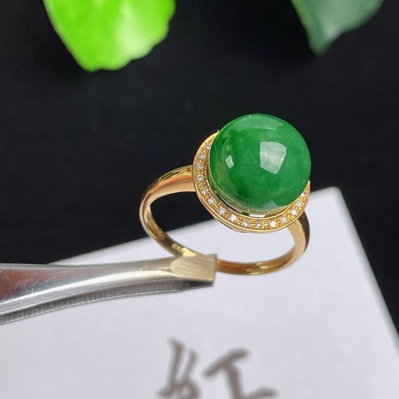 A货翡翠-种好满绿18K金伴钻圆珠戒指,尺寸-裸石10.2mm整体12.1*12.2*10.4mm内