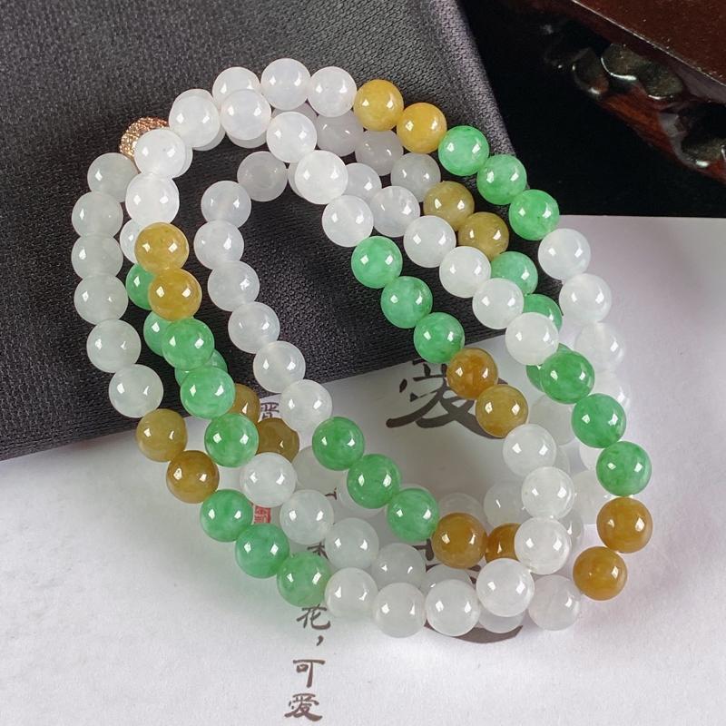 A货翡翠-种好双彩圆珠项链,尺寸-6.5mm