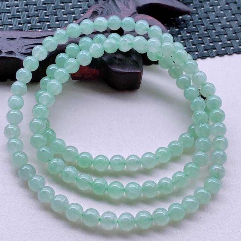 尺寸:108颗,其中珠直径6.5,A货翡翠冰透带绿精雕圆珠项链佛珠108颗,编号0929-