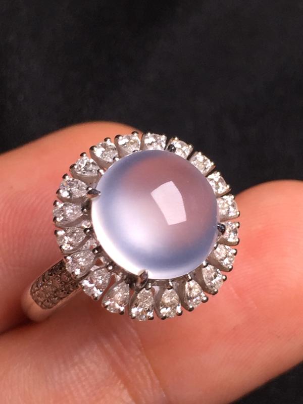 高冰蛋面戒指,18k金钻石镶嵌,种水超好,玉质细腻