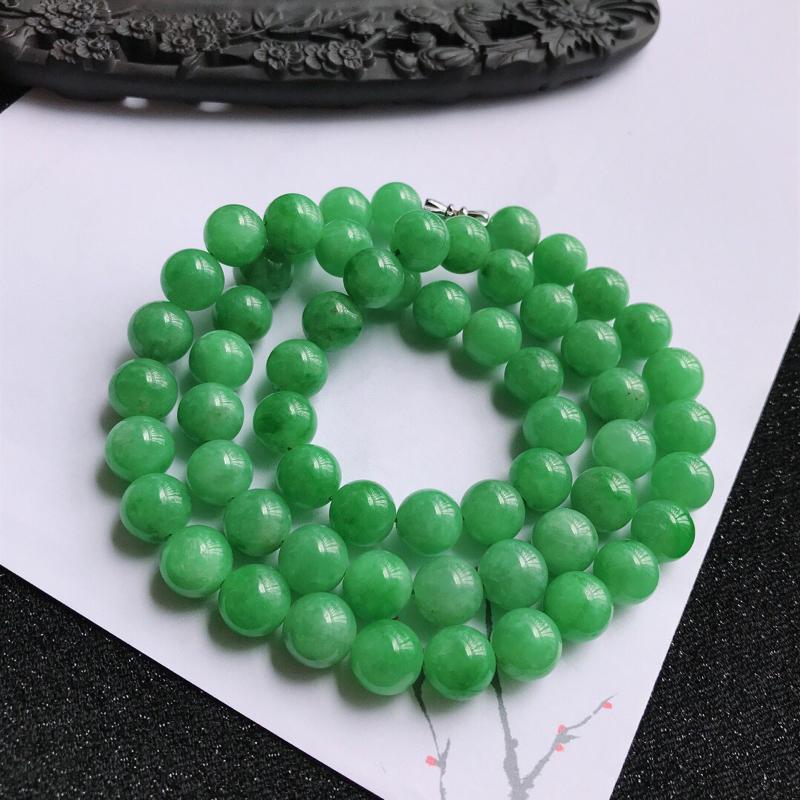 满绿福气项链,翡翠A货,尺寸:10mm,扣头是装饰品