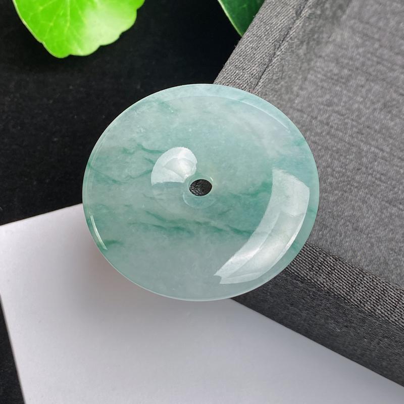 A货翡翠-种好飘花平安扣吊坠,尺寸-38.3*6mm