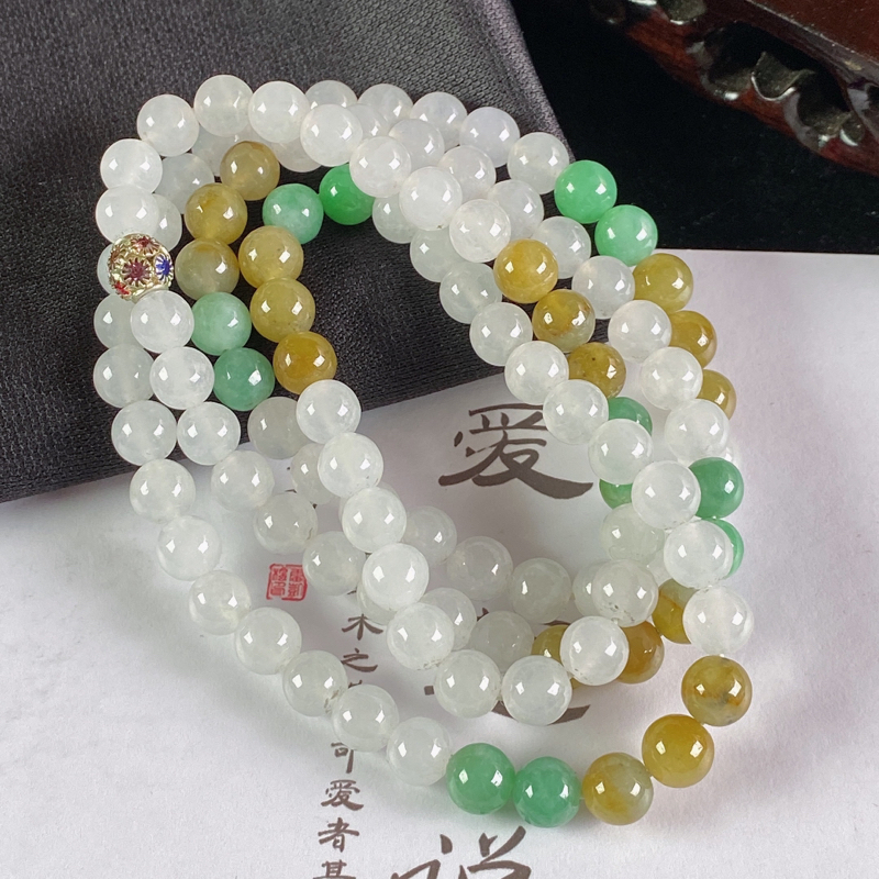 A货翡翠-种好双彩圆珠项链,尺寸-7.2mm
