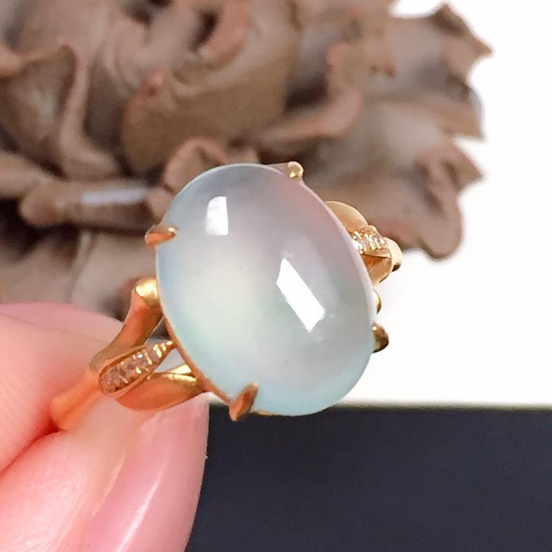 冰种飘翠翡翠戒指,种水好,冰清玉洁,荧光足,指圈:13#,尺寸:11.5-8.9-4.9