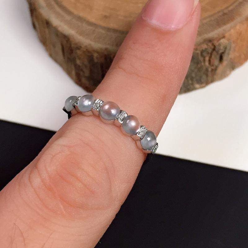 冰种翡翠戒指,种水好,纯净迷人,清新自然,指圈#13,单颗裸石尺寸:3.8*3.2*2.2