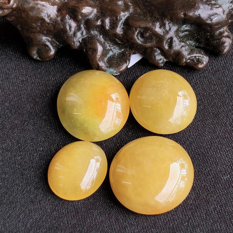 天然a货翡翠黄翡裸石蛋面(镶嵌件)戒面,玉质细腻,水润,尺寸:14.1*12.6*4.9/14.1*