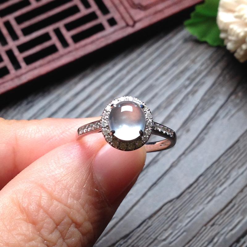 灯泡小戒指,裸石7.5*6.5*4.5 戒圈14 18k金钻石镶嵌,老坑种水,通透无比,一眼见底,钢