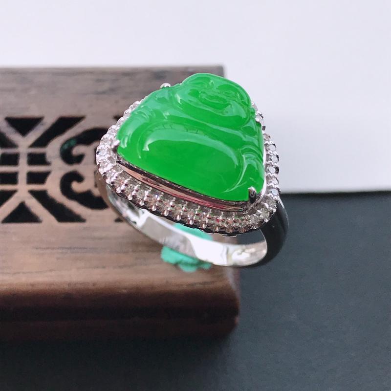天然翡翠A货18K金镶嵌伴钻糯化种满绿精美佛公戒指,内径尺寸17.7mm,裸石尺寸10.8-13.3