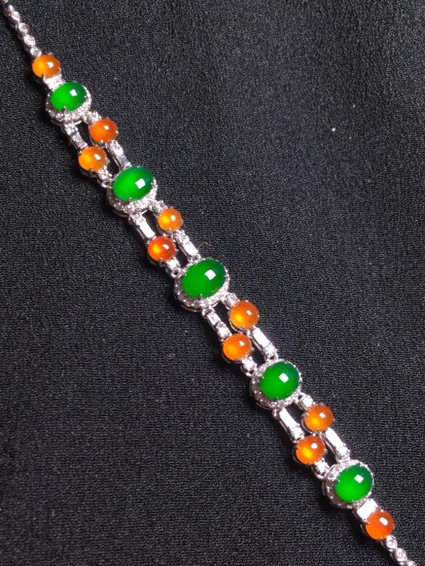 (黄+绿)二合一手链,18k金钻石镶嵌,种水超好,玉质细腻