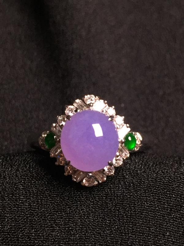 紫罗兰蛋面戒指,18k金钻石镶嵌,种水超好,玉质细腻