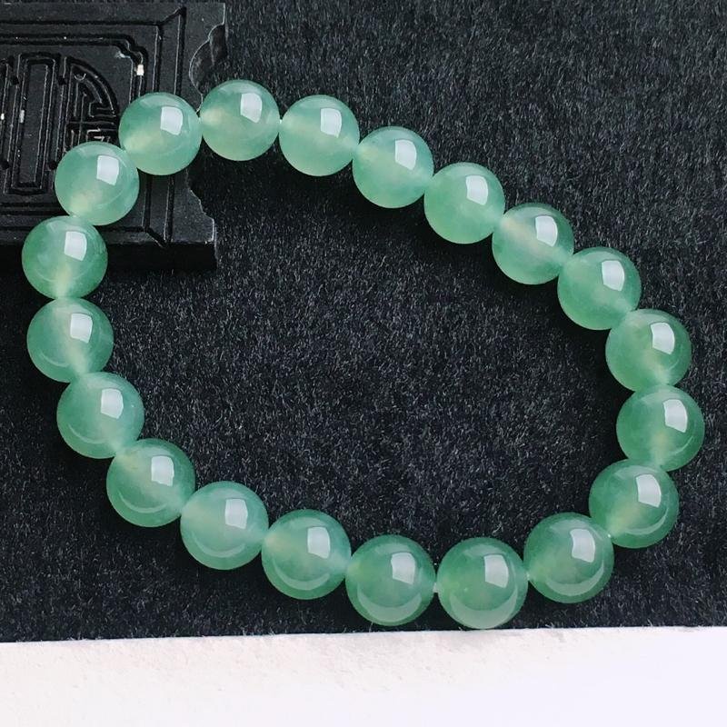 A货翡翠  水润晴水绿玉珠手链   尺寸9.6mm  水头好,料子细腻,色泽艳丽,珠子圆润饱满
