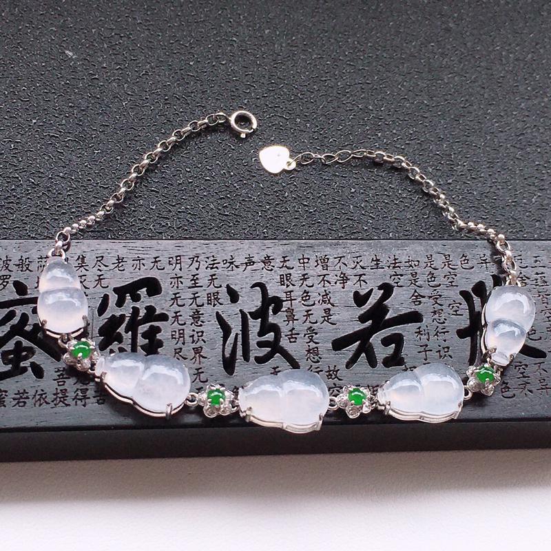 精品翡翠18k镶嵌伴钻葫芦手链,玉质莹润,佩戴效果更美,尺寸:链长:190MM,裸石尺寸:11*7.