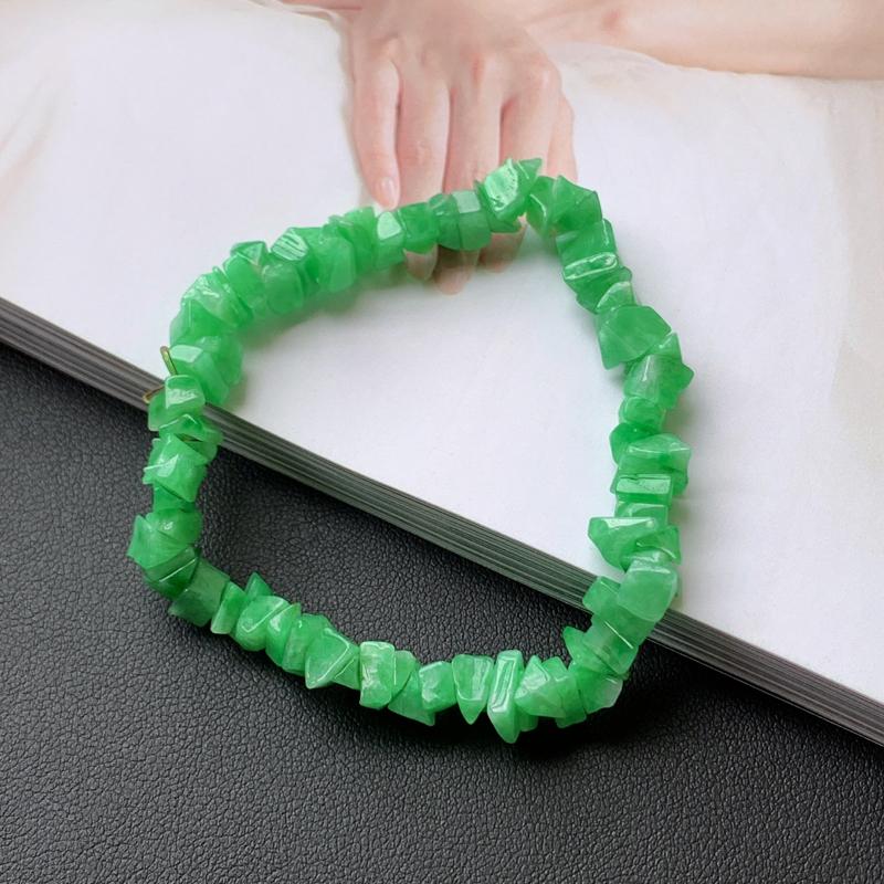 1001老坑精美水润A货翡翠满绿随形手链
